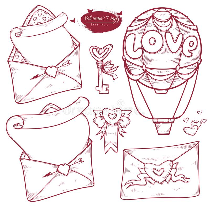 Saint-Valentin d'ensemble de vecteur Les variantes tirées par la main d'illustration du message dans l'enveloppe, aiment la lettr illustration stock