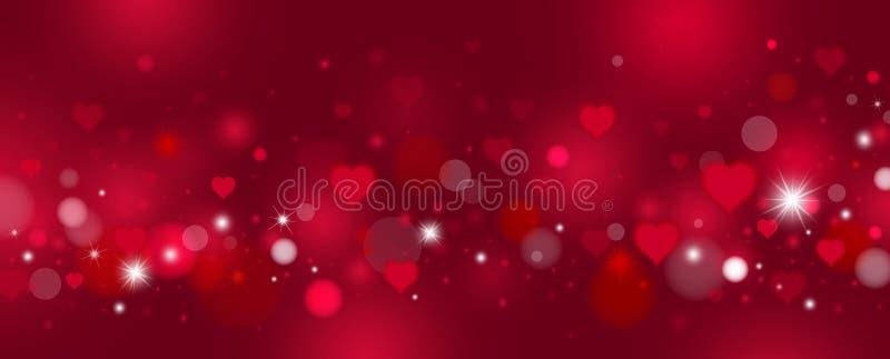 Saint-Valentin et conception de fond d'amour des coeurs et du bokeh rouges illustration stock