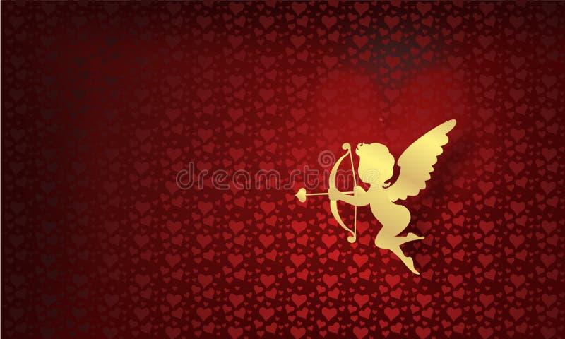 Saint-Valentin heureuse avec de l'or d'ange photo libre de droits