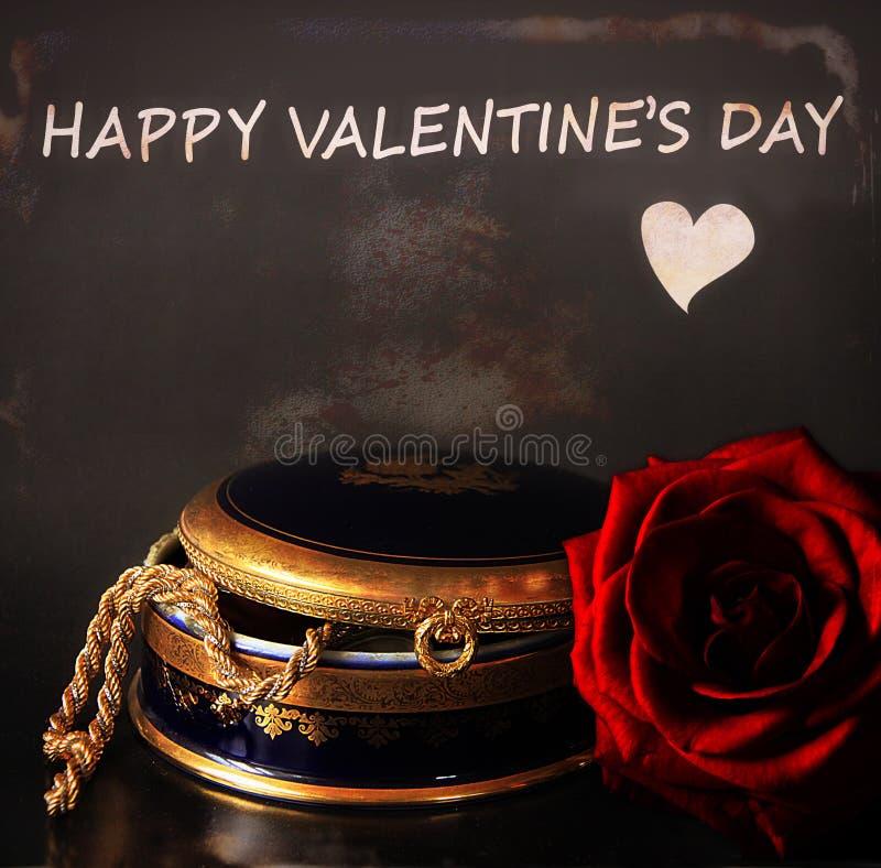 Saint-Valentin heureuse avec la rose actuelle et rouge photographie stock