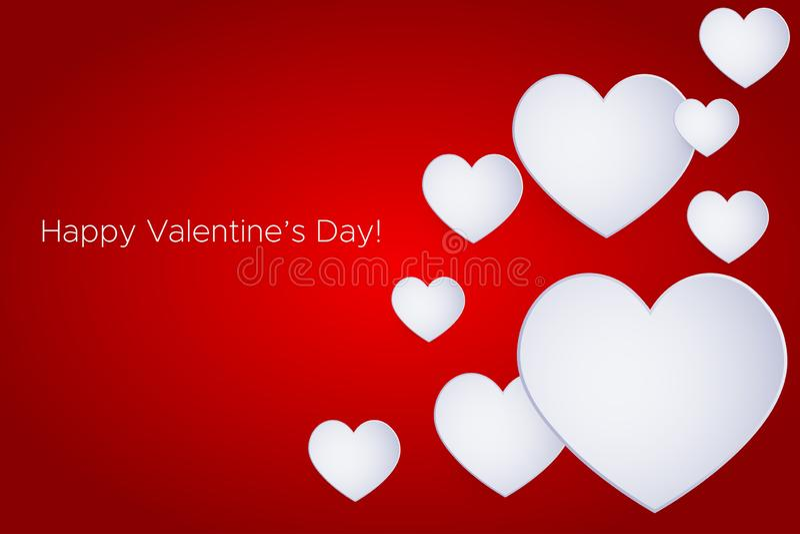 Saint-Valentin heureuse ! Beau coeur ! Coeurs de papier abstraits de l'art 3D sur le fond rouge de gradient Carte de jour de Vale illustration de vecteur