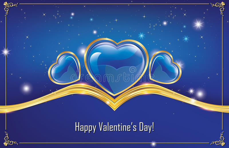 Saint-Valentin heureuse ! carte de voeux bleue illustration libre de droits