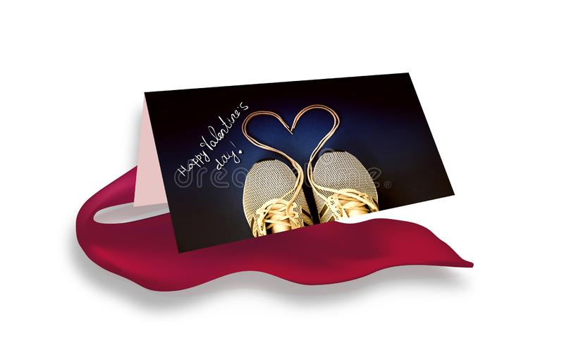 Saint-Valentin heureuse - coeur lacé d'espadrille carte illustration stock