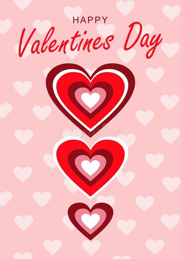 Saint-Valentin heureuse d'occasion de félicitations Coeurs d'arc-en-ciel Fond rose avec de petits coeurs illustration stock