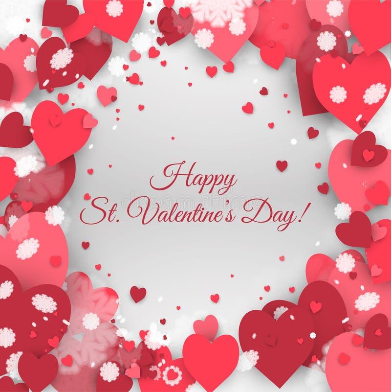 Saint-Valentin heureuse de St ! Fond abstrait avec le ruban et les flocons de neige et les coeurs de vol au jour de St Valentine illustration libre de droits