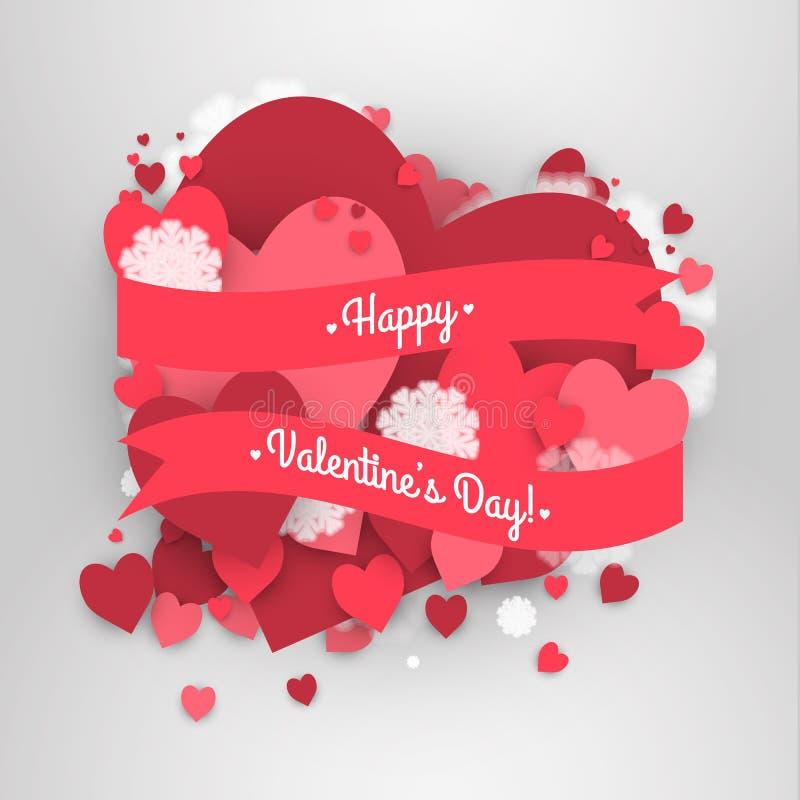 Saint-Valentin heureuse de St ! Fond abstrait avec le ruban et les flocons de neige et les coeurs de vol au jour de St Valentine illustration stock