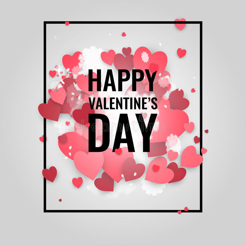 Saint-Valentin heureuse de St ! Fond abstrait avec le ruban et les flocons de neige et les coeurs de vol au jour de St Valentine illustration de vecteur