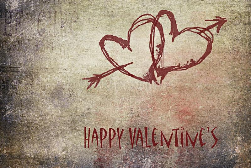 Saint-Valentin heureuse, grunge et romantique image libre de droits