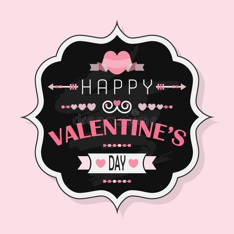 Saint-Valentin heureuse - insigne de craie de vintage sur le fond rose illustration de vecteur