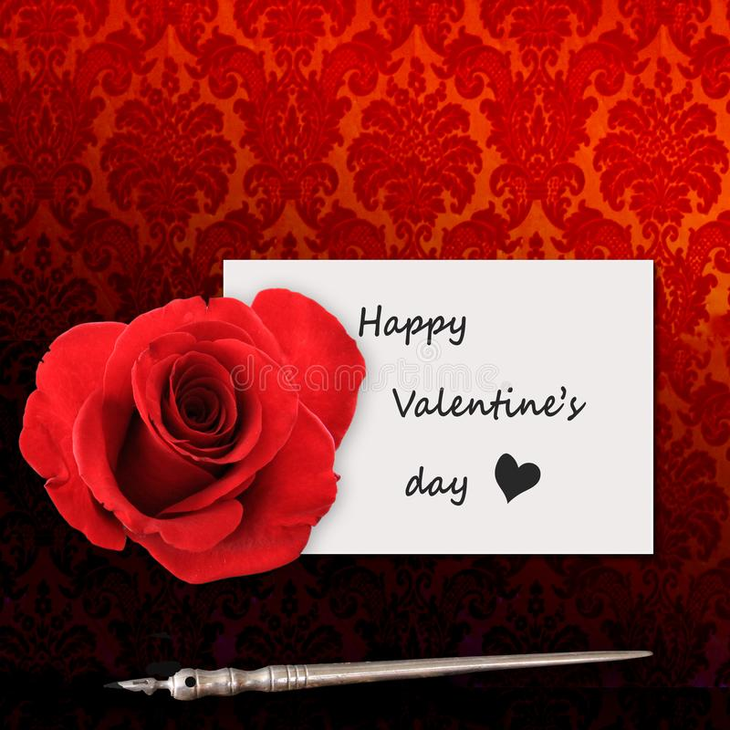 Saint-Valentin heureuse, message et rose rouge image stock