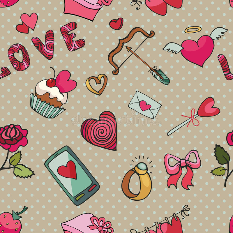Saint Valentin, mariage, amour Configuration sans joint de coeur illustration stock
