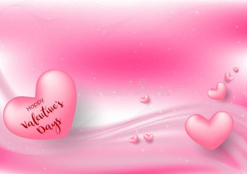 Saint-Valentin rose avec des coeurs sur le fond rose Illustration de vecteur Bannière d'amour ou carte de voeux mignonne illustration de vecteur