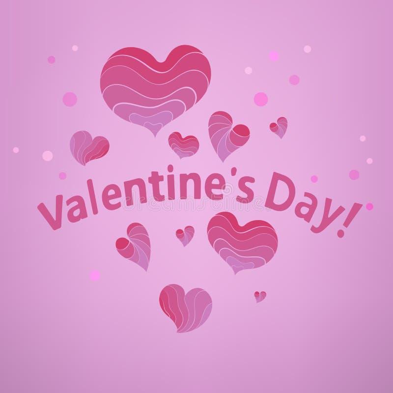 Saint Valentin rose de coeurs illustration de vecteur