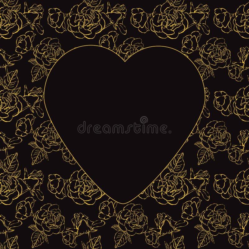 Saint-Valentin. Roses et coeurs d'or. Illustration de vecteur illustration stock