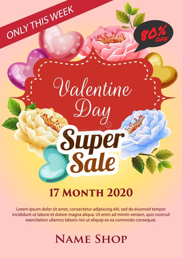 Saint Valentin superbe d'affiche de vente illustration libre de droits