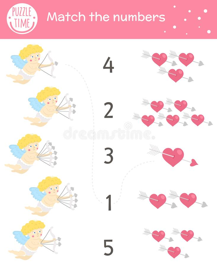 Free Saint Valentine Day Matching Game With Cupid And Hearts. Holiday Math Activity For Preschool Children. Educational Love Themed Royalty Free Stock Photography - 204728927