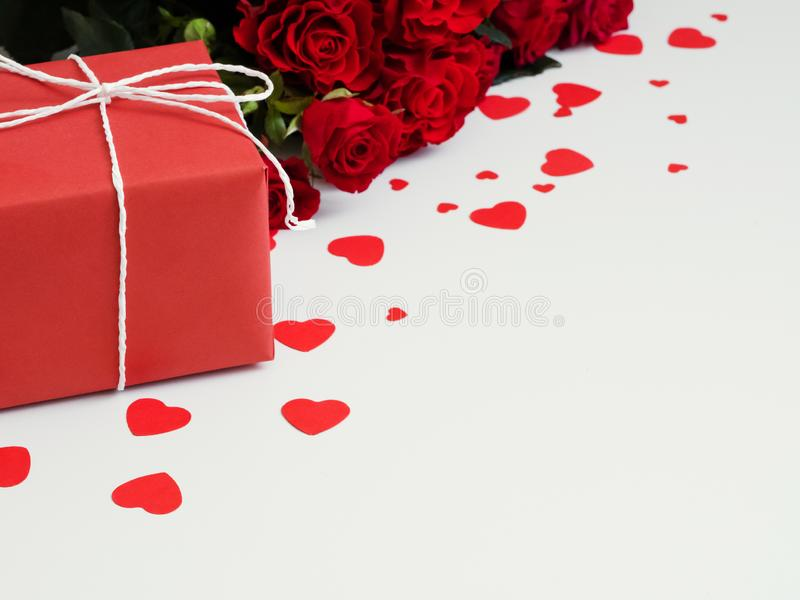 Saint valentine day red roses gift box heart royalty free stock images