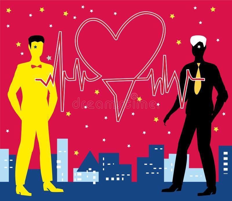 Saint Valentine Gay Heartbeat ilustração stock