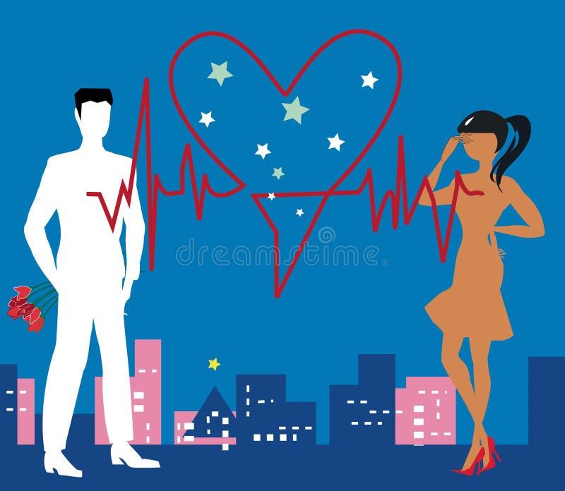 Saint Valentine Heartbeat ilustração do vetor