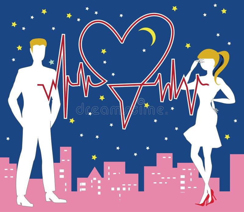 Saint Valentine Heartbeat ilustração stock