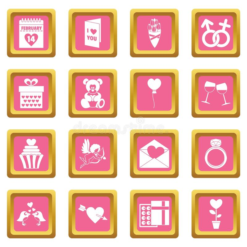 Saint Valentine icons pink royalty free illustration