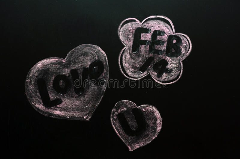 Saint Valentine's Day. Concept of Saint Valentine's Day drawn with chalk on a blackboard royalty free stock image