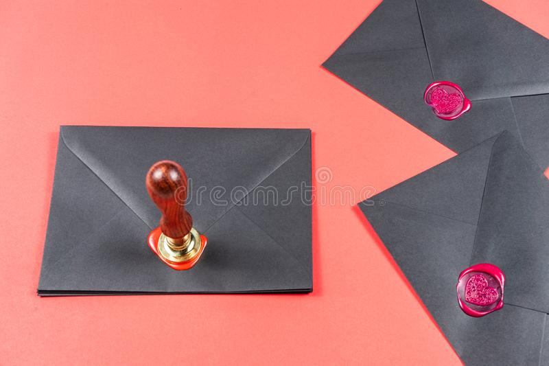 Saint Valentine`s Day concept.Heart Wax Stamp royalty free stock image