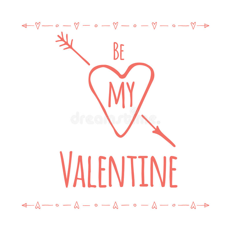 Saint Valentine's day greeting card. Be my vector illustration