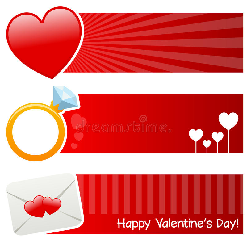 Download Saint Valentine S Day Horizontal Banners Stock Vector - Illustration: 38405223