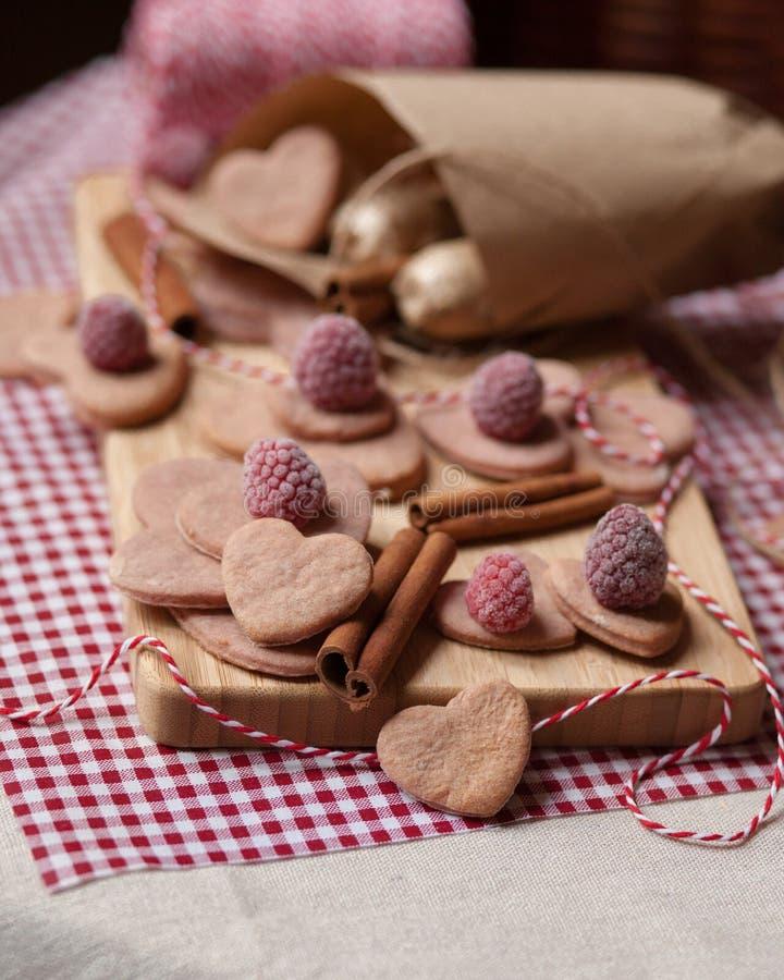 Saint Valentine`s day surprise breakfast stock images