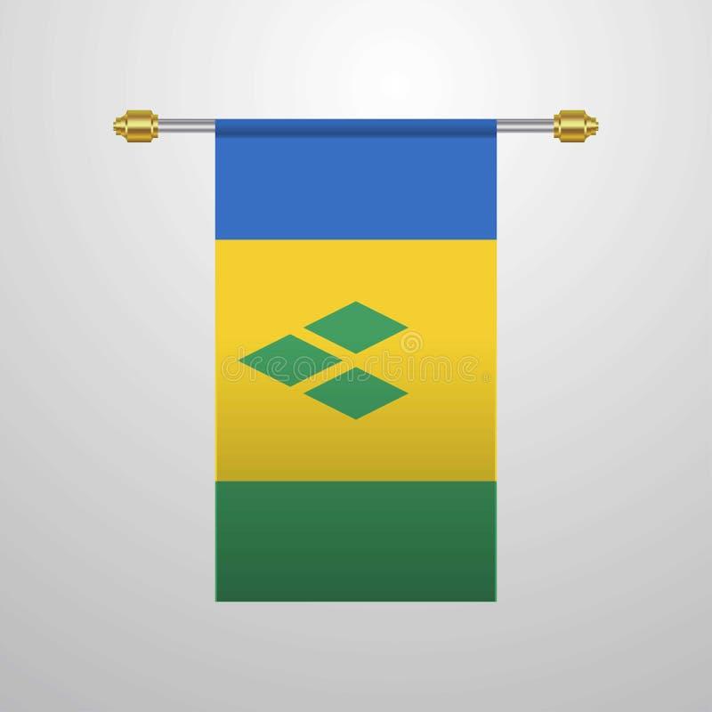 Saint Vincent et grenadines accrochant le drapeau illustration stock