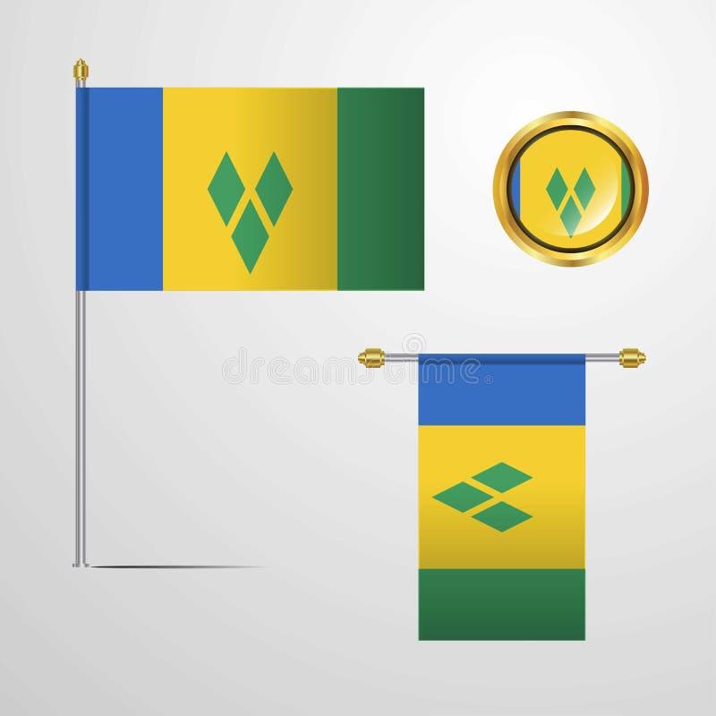 Saint Vincent et grenadines ondulant la conception de drapeau avec le vecto d'insigne illustration de vecteur