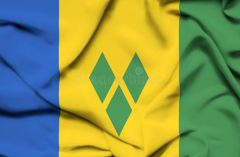 Saint Vincent et grenadines ondulant le drapeau illustration stock