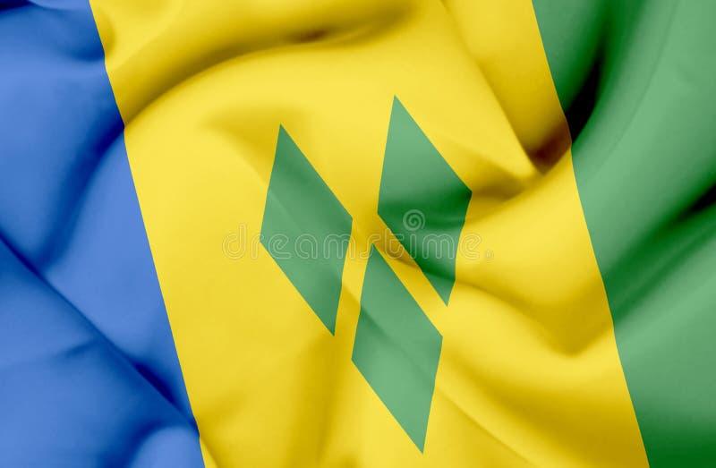 Saint Vincent et grenadines ondulant le drapeau illustration libre de droits