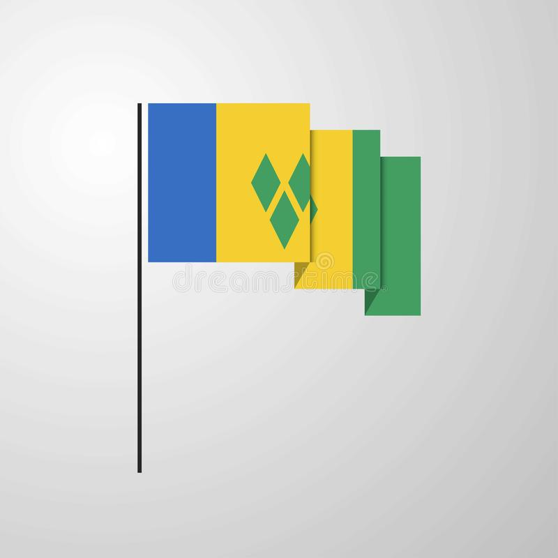 Saint Vincent et grenadines ondulant le fond créatif de drapeau illustration stock