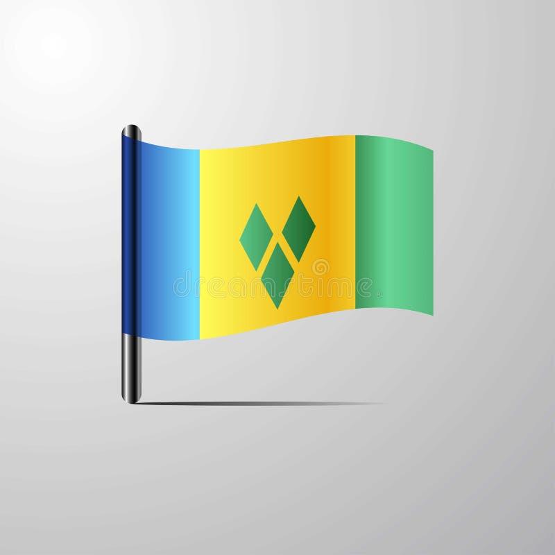 Saint Vincent et grenadines ondulant le vecteur brillant de conception de drapeau illustration stock