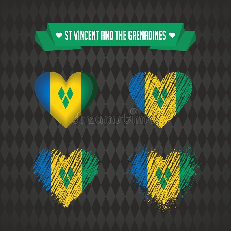 Saint-Vincent-et-les-Grenadines Collection de quatre coeurs de vecteur avec le drapeau Silhouette de coeur illustration stock