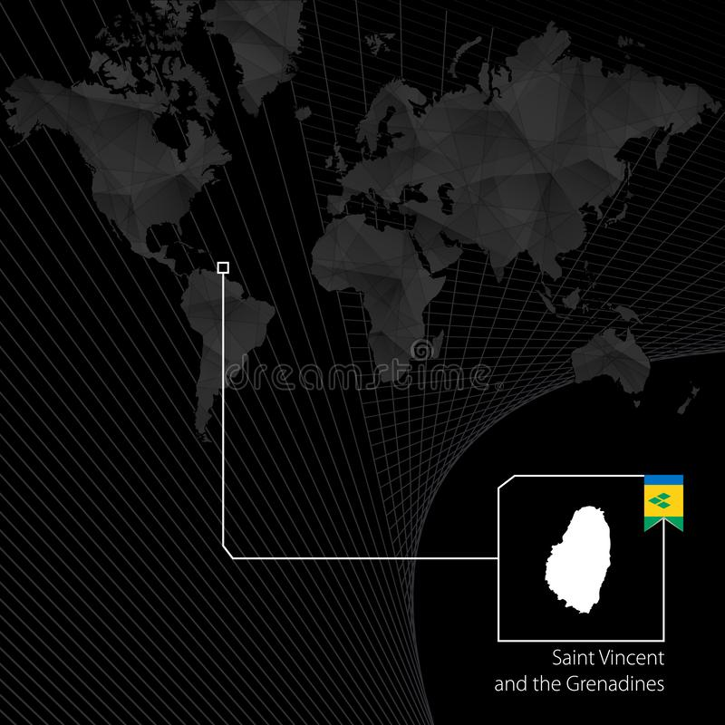 Saint-Vincent-et-les-Grenadines sur la carte noire du monde illustration de vecteur