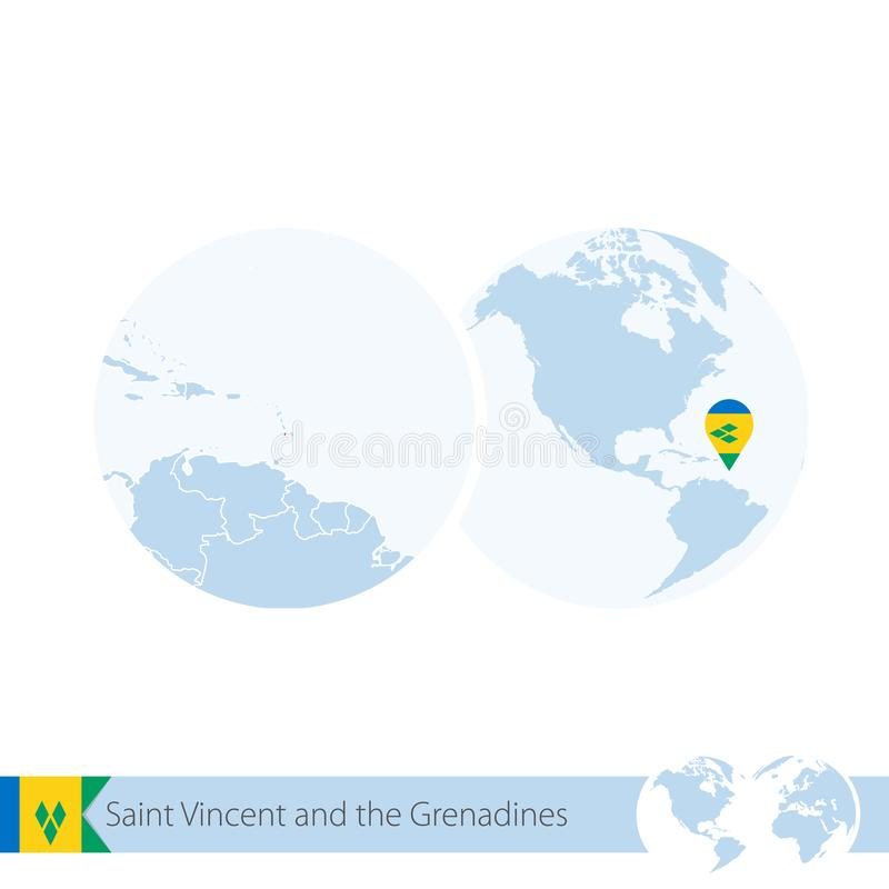 Saint-Vincent-et-les-Grenadines sur le globe du monde avec le drapeau et la carte régionale de Saint-Vincent-et-les-Grenadines illustration libre de droits