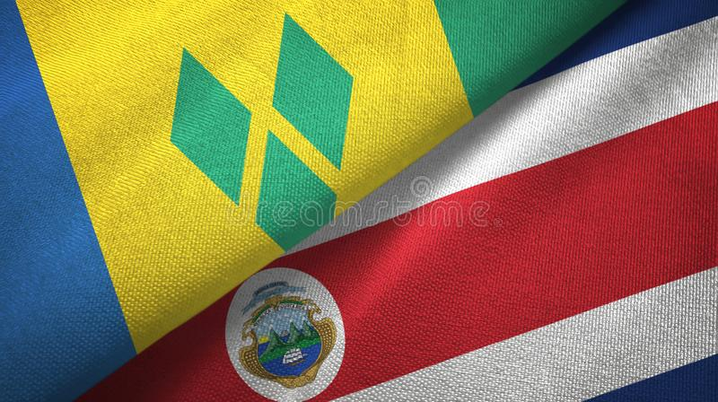 Saint Vincent and the Grenadines and Costa Rica two flags stock illustration
