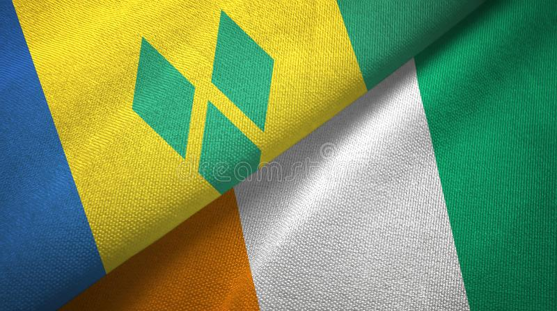 Saint Vincent and the Grenadines and Cote d`Ivoire Ivory coast two flags stock illustration