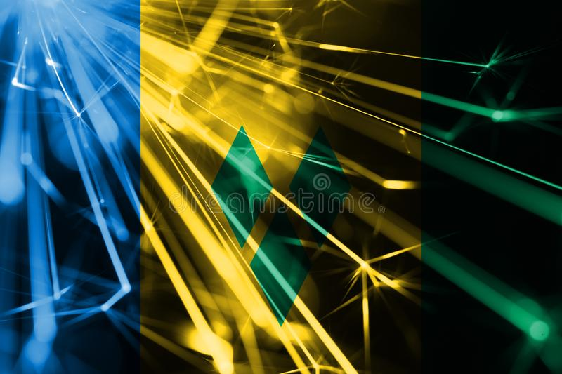 Saint Vincent and the Grenadines shining fireworks sparkling flag. New Year 2019 and Christmas futuristic shiny party concept flag stock illustration
