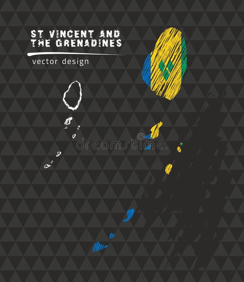 Saint Vincent och Grenadinerna översikt med flaggan inom på den svarta bakgrunden Krita skissar vektorillustrationen stock illustrationer