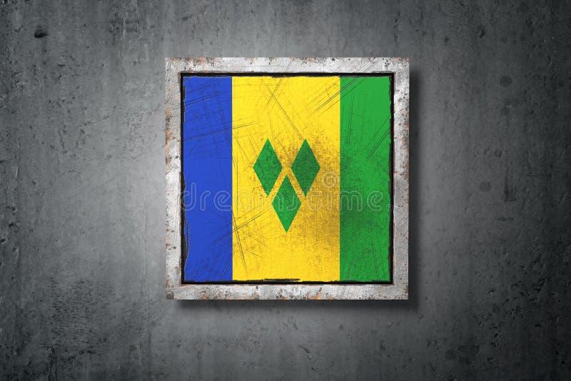 Saint Vincent och Grenadinerna flagga i betongvägg royaltyfri illustrationer