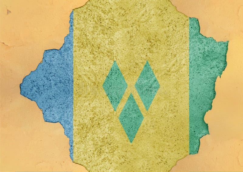 Saint Vincent och Grenadinerna flagga i stor betong knäckt hål stock illustrationer