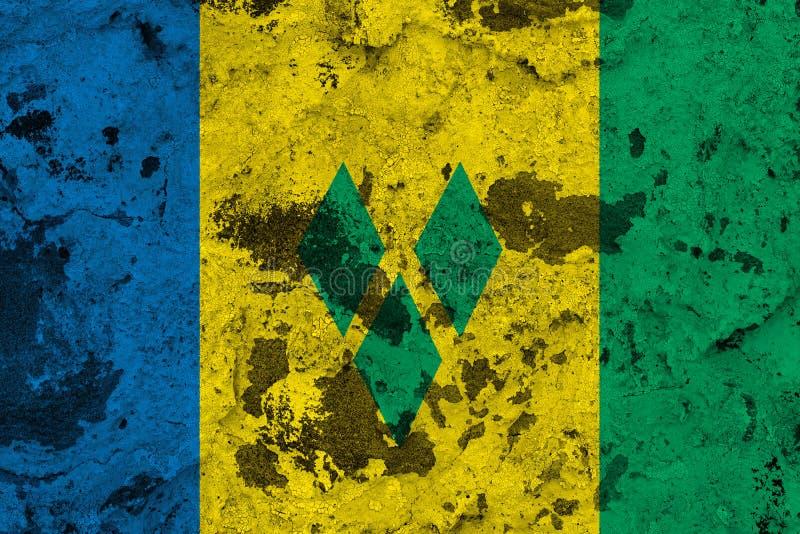 Saint Vincent och Grenadinerna flagga på den gamla väggen vektor illustrationer