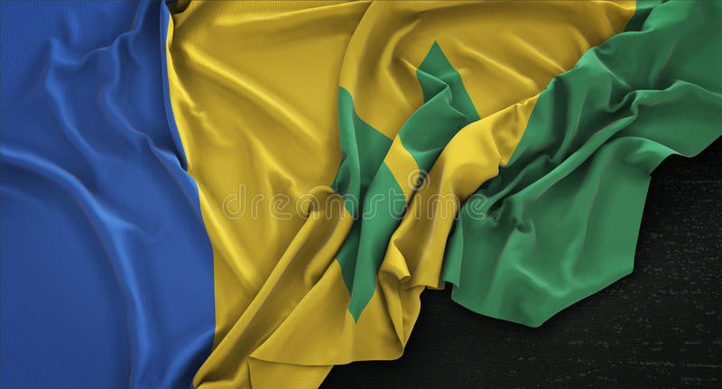 Saint Vincent och Grenadinerna flagga som rynkas på mörka Backgroun vektor illustrationer
