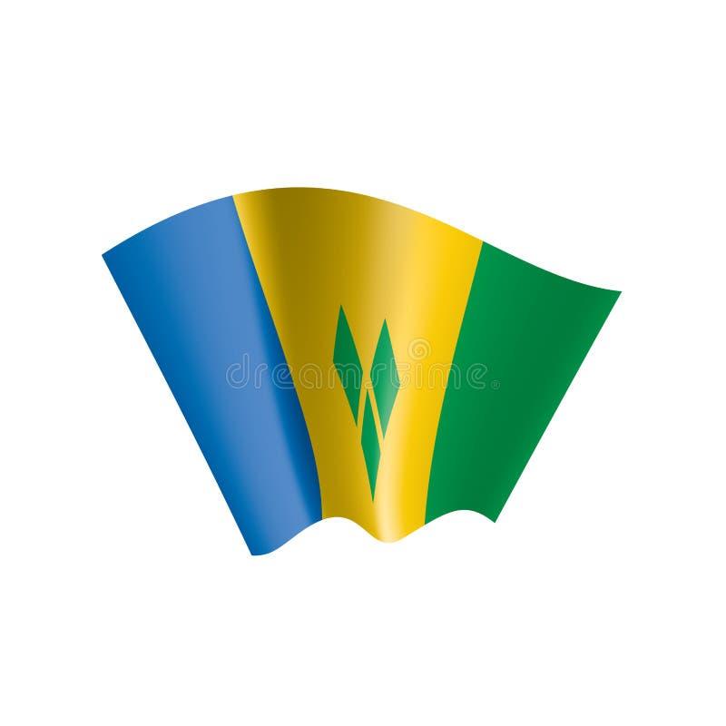 Saint Vincent och Grenadinerna flagga, vektorillustration på en vit bakgrund vektor illustrationer