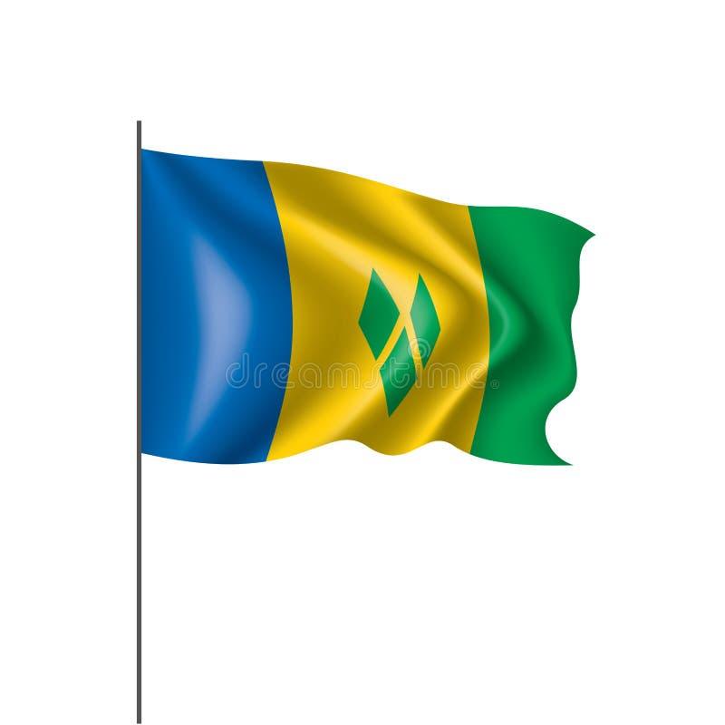 Saint Vincent och Grenadinerna flagga, vektorillustration på en vit bakgrund stock illustrationer