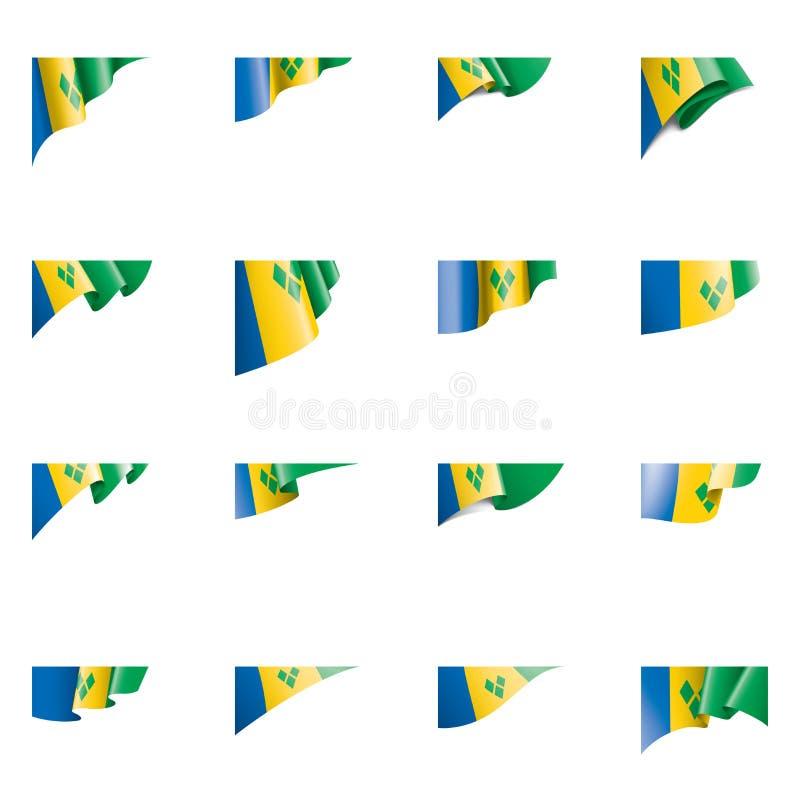 Saint Vincent och Grenadinerna flagga, vektorillustration på en vit bakgrund royaltyfri illustrationer
